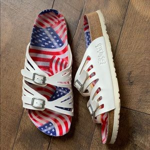 Rare Birki's. US flag. White. Leather. US9.